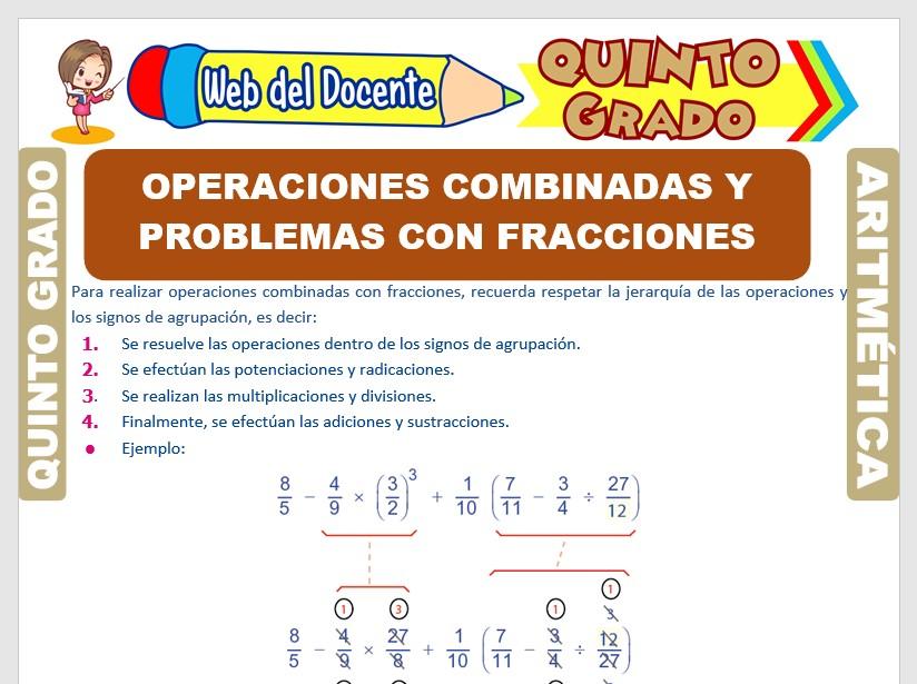 Ficha de Operaciones Combinadas y Problemas con Fracciones para Quinto Grado de Primaria