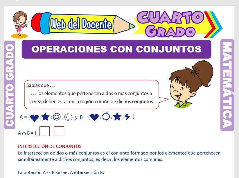 Ficha de Operaciones con Conjuntos para Cuarto Grado de Primaria