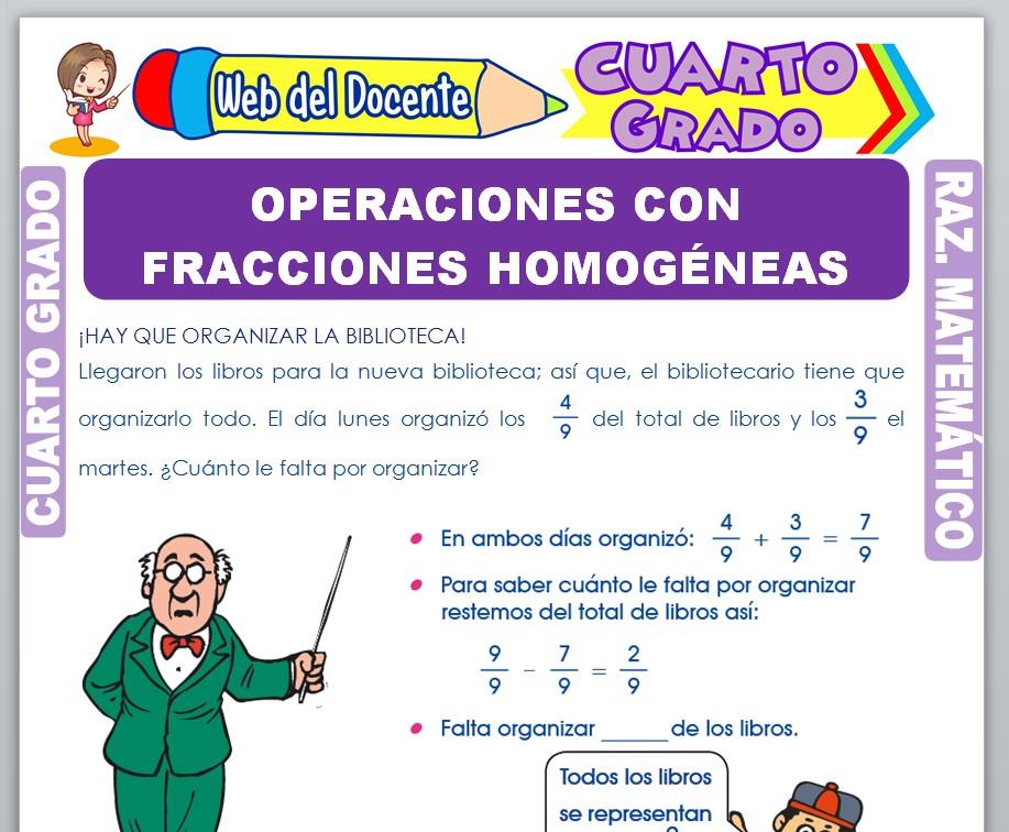 Ficha de Operaciones con Fracciones Homogéneas para Cuarto Grado de Primaria