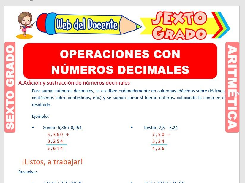 Ficha de Operaciones con Números Decimales para Sexto Grado de Primaria