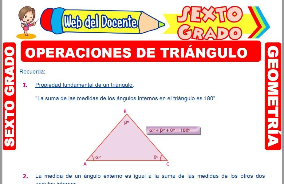 Muestra de la Ficha de Operaciones en el Triángulo para Sexto Grado de Primaria