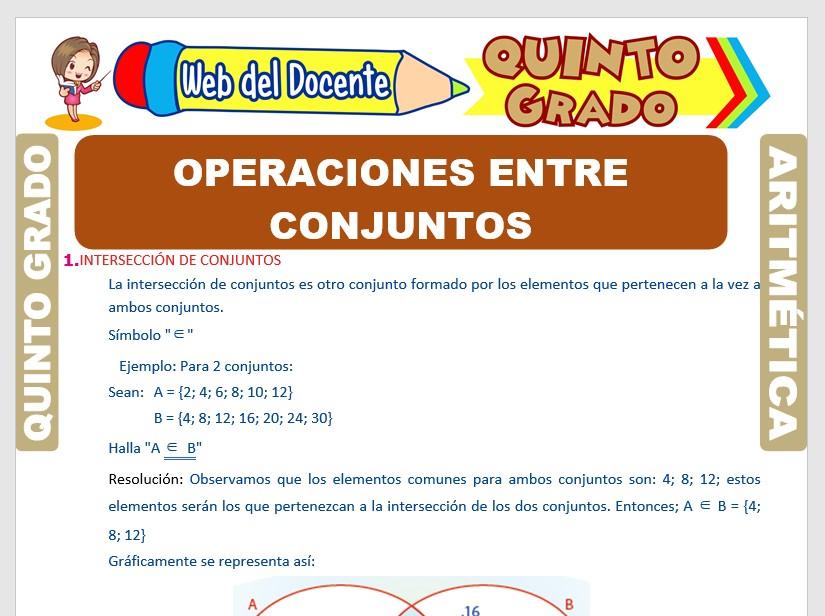 Ficha de Operaciones entre Conjuntos para Quinto Grado de Primaria