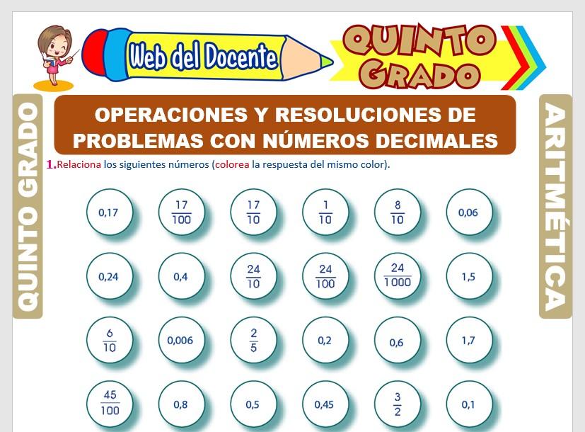 Ficha de Operaciones y Problemas con Números Decimales para Quinto Grado de Primaria