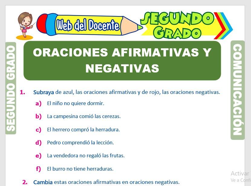 Ficha de Oraciones Afirmativas y Negativas para Segundo Grado de Primaria