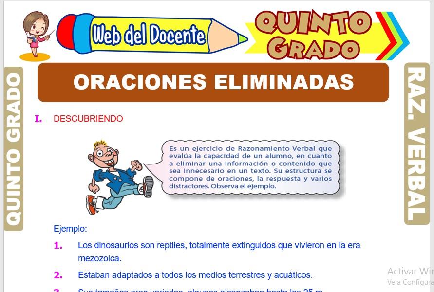 Ficha de Oraciones Eliminadas para Quinto Grado de Primaria