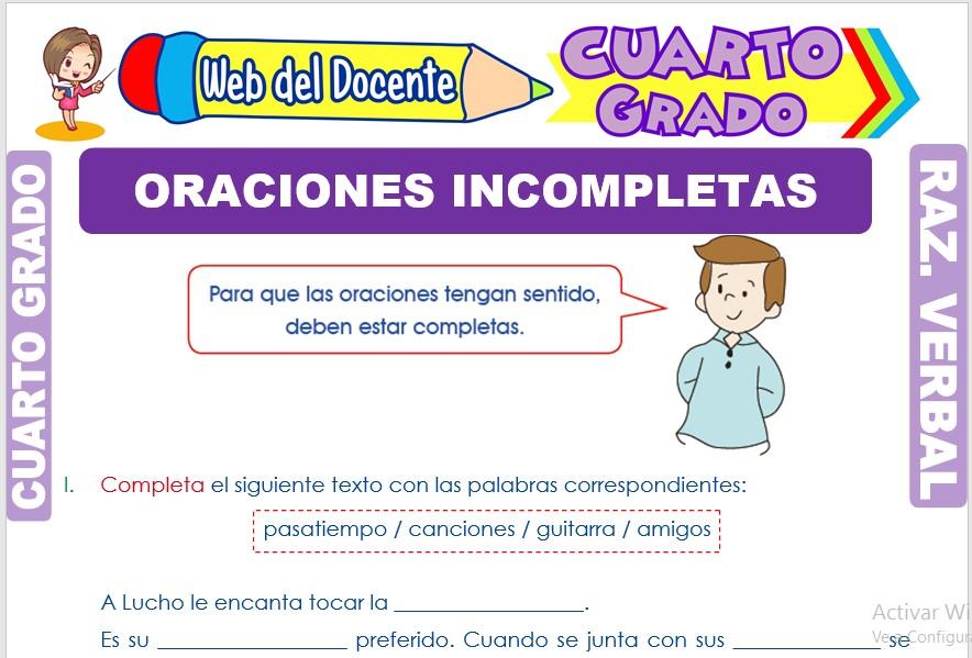 Ficha de Oraciones Incompletas para Cuarto Grado de Primaria
