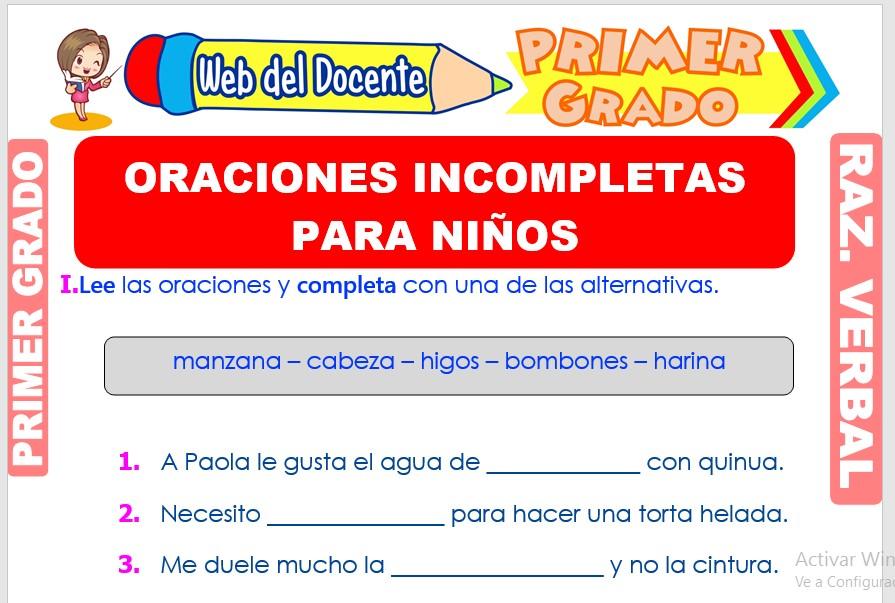 Ficha de Oraciones Incompletas para Niños para Primer Grado de Primaria