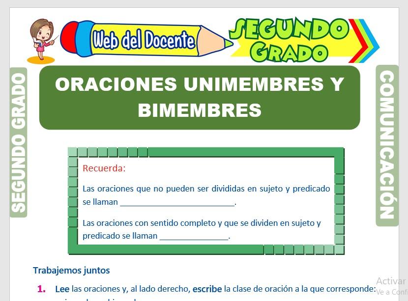 Ficha de Oraciones Unimembres y Bimembres para Segundo Grado de Primaria