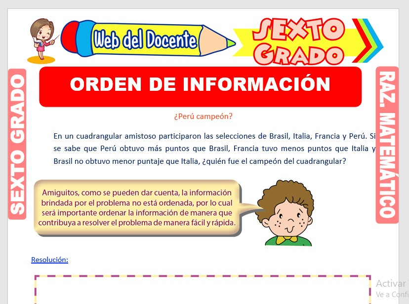 Ficha de Orden de Información para Sexto Grado de Primaria