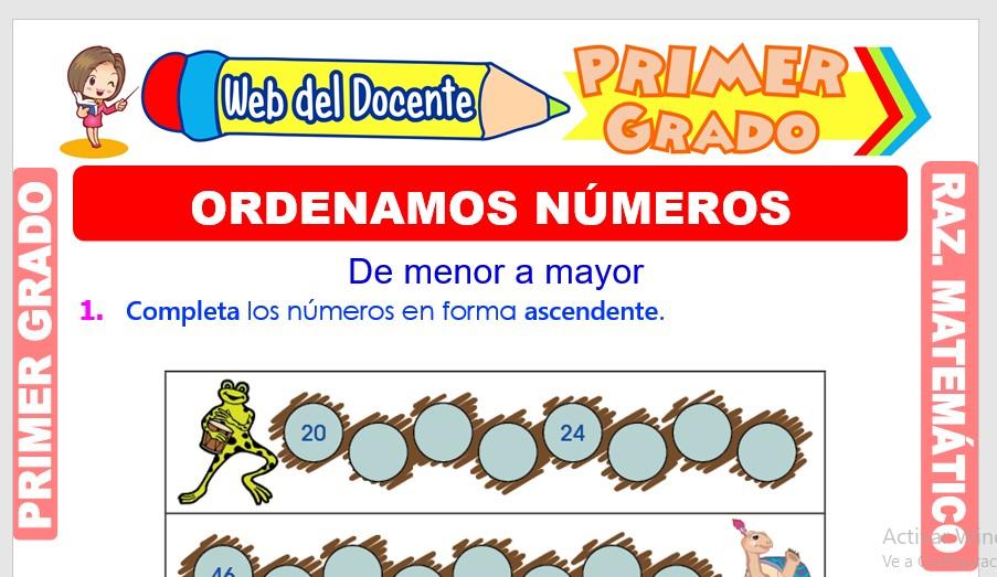 Ficha de Ordenamos Números para Primer Grado de Primaria