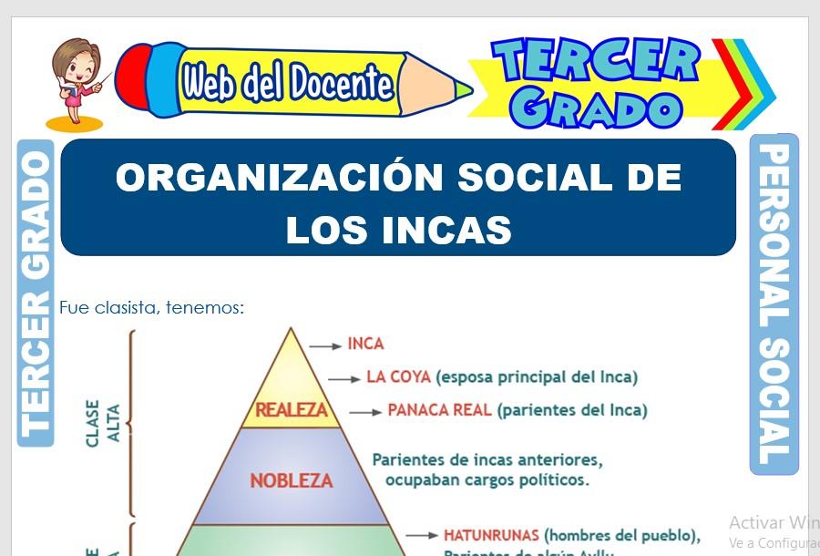 Ficha de Organización Social de los Incas para Tercer Grado de Primaria