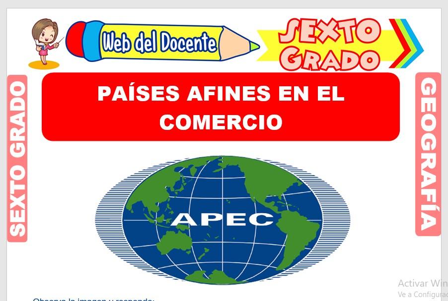 Ficha de Países Afines en el Comercio para Sexto Grado de Primaria