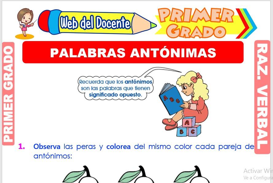 Ficha de Palabras Antónimas para Primer Grado de Primaria