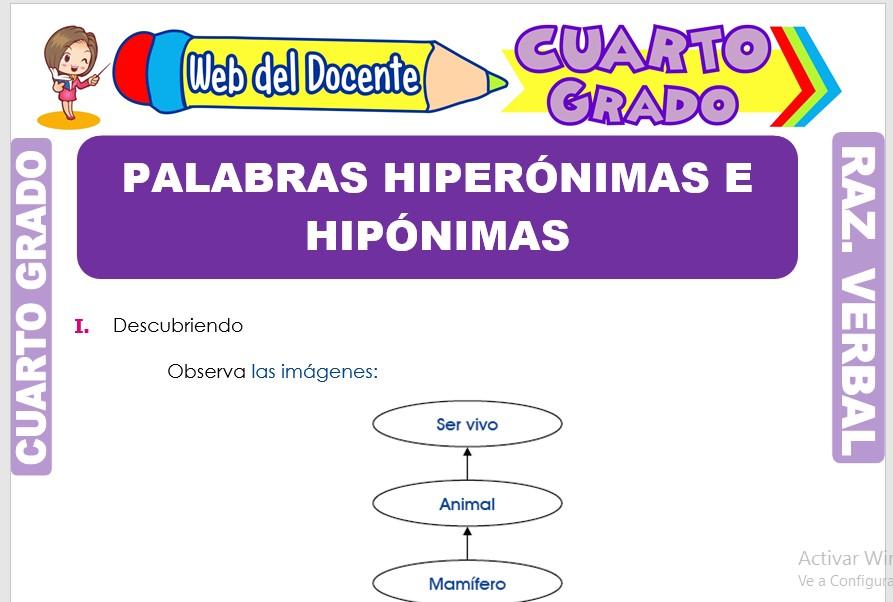 Ficha de Palabras Hiperónimas e Hipónimas para Cuarto Grado de Primaria