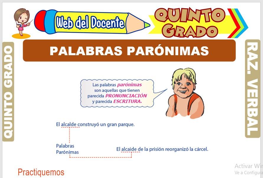 Ficha de Palabras Parónimas para Quinto Grado de Primaria