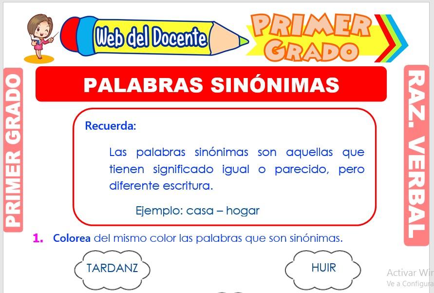 Ficha de Palabras Sinónimas para Primer Grado de Primaria