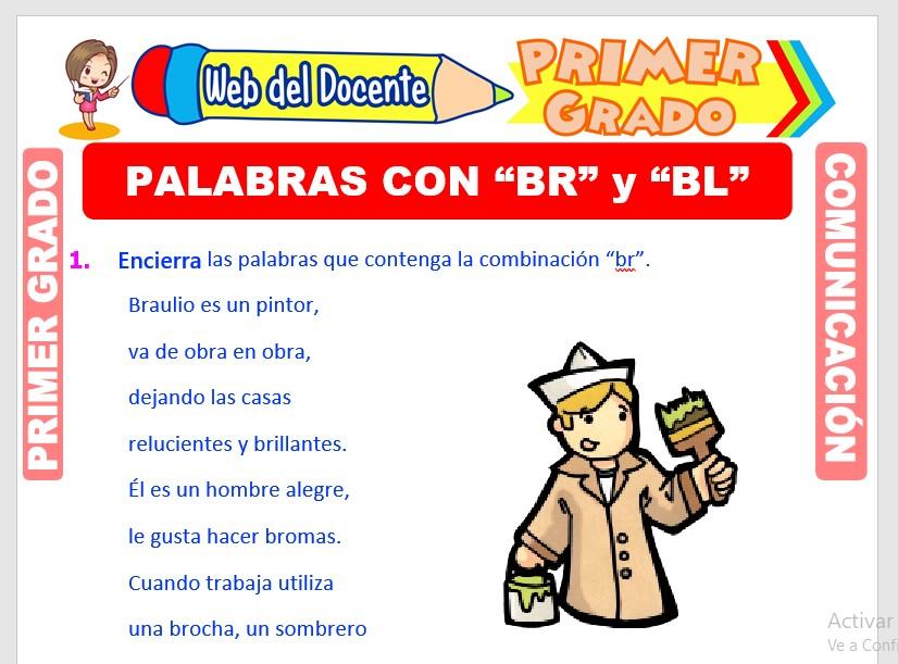 Ficha de Palabras con BR y BL para Primero de Primaria