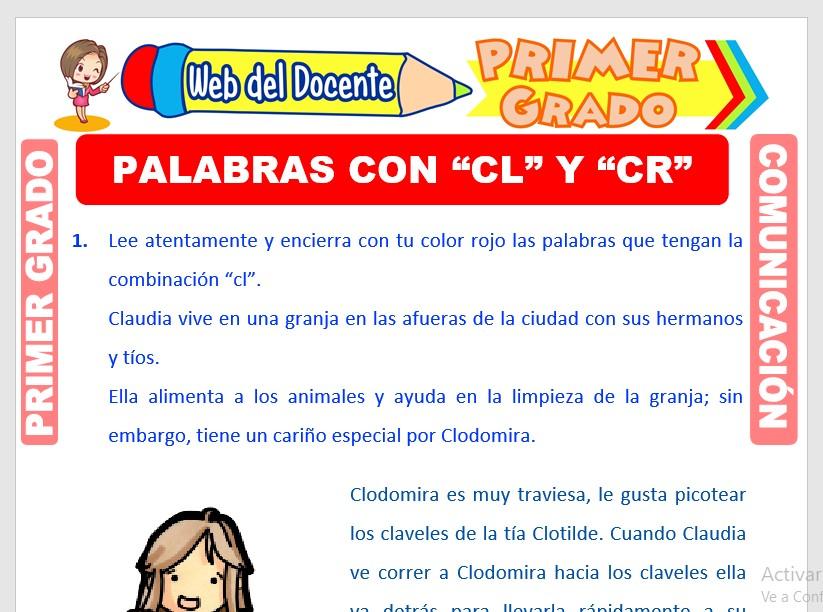Ficha de Palabras con CR y CL para Primero de Primaria