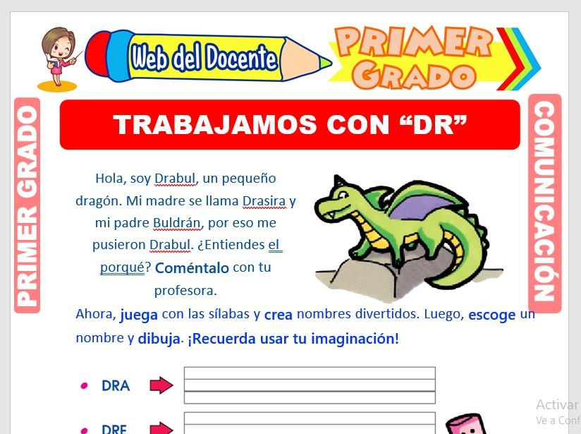 Ficha de Palabras con DR para Primero de Primaria