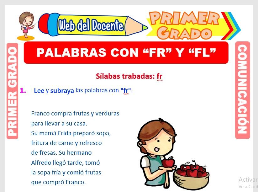 Ficha de Palabras con FR y FL para Primero de Primaria