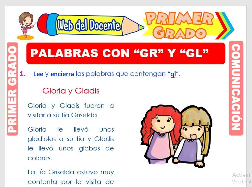 Ficha de Palabras con GL y GR para Primero de Primaria