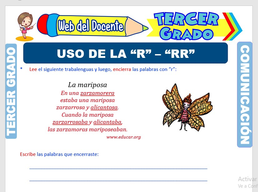 Ficha de Palabras con R y RR para Tercer Grado de Primaria
