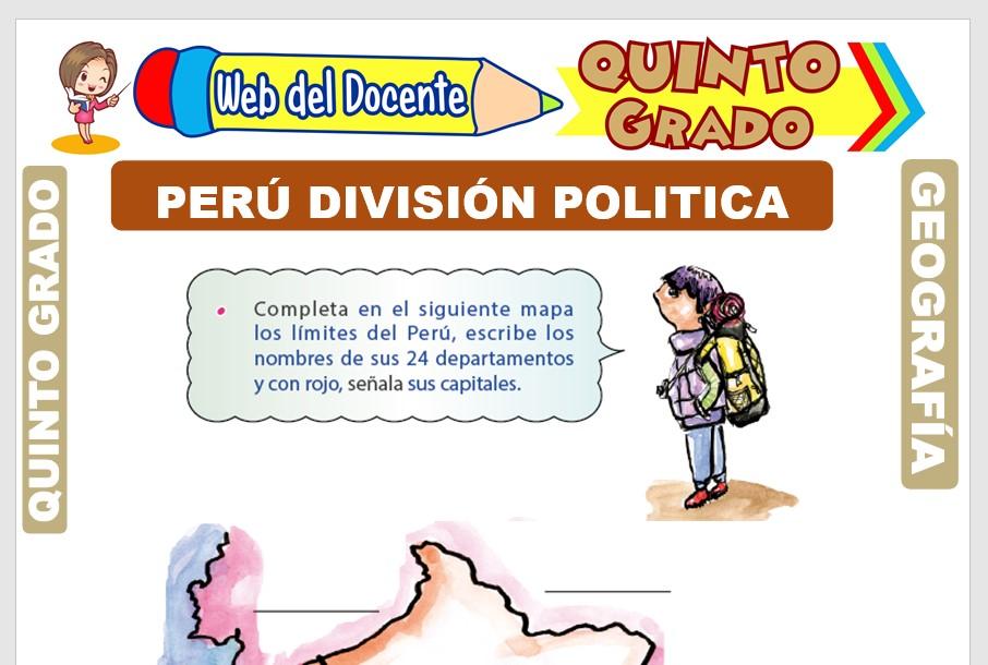 Ficha de Perú División Política para Quinto Grado de Primaria