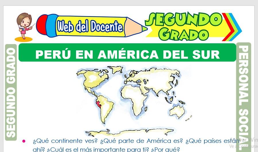 Ficha de Perú en América del Sur para Segundo Grado de Primaria