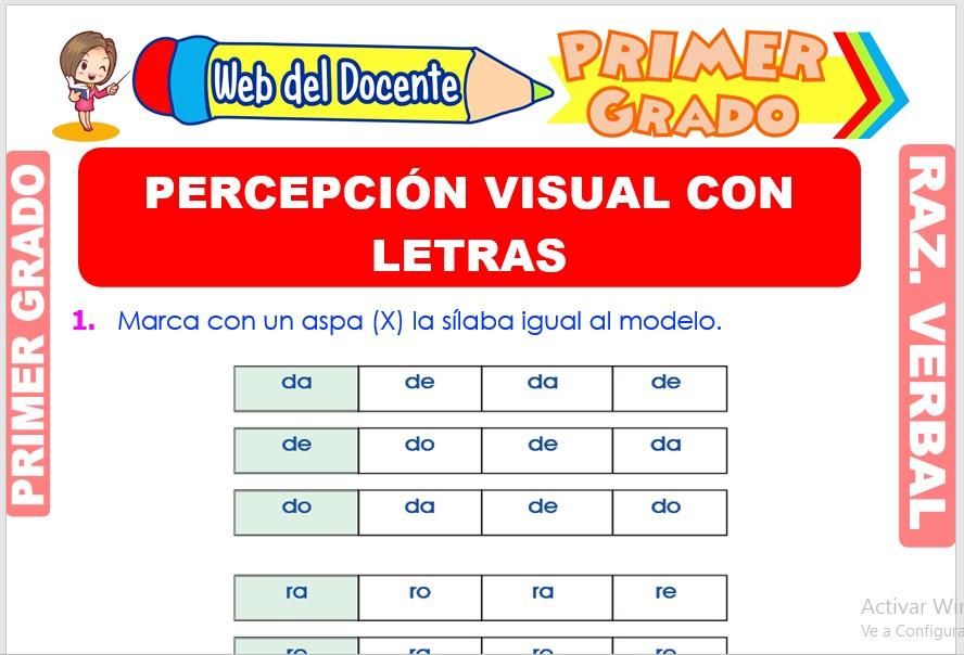 Ficha de Percepción Visual con Letras para Primer Grado de Primaria