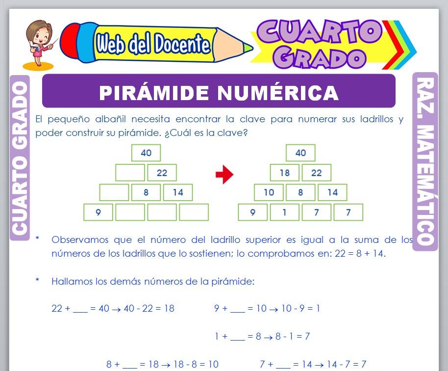 Ficha de Pirámide Numérica para Cuarto Grado de Primaria