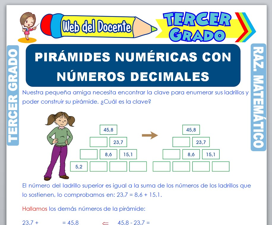 Ficha de Pirámides Numéricas con Números Decimales para Tercer Grado de Primaria