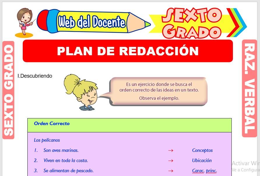 Ficha de Plan de Redacción para Sexto Grado de Primaria