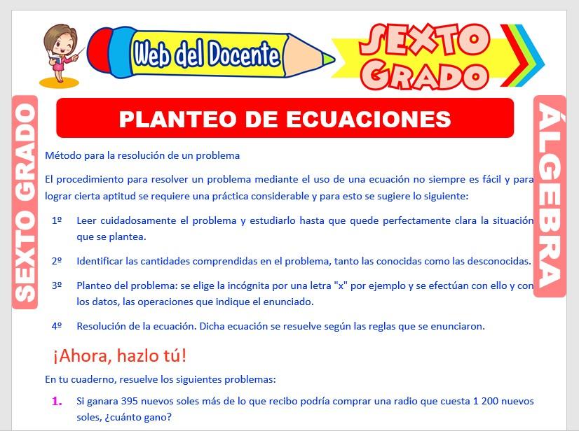 Ficha de Planteando Ecuaciones para Sexto Grado de Primaria