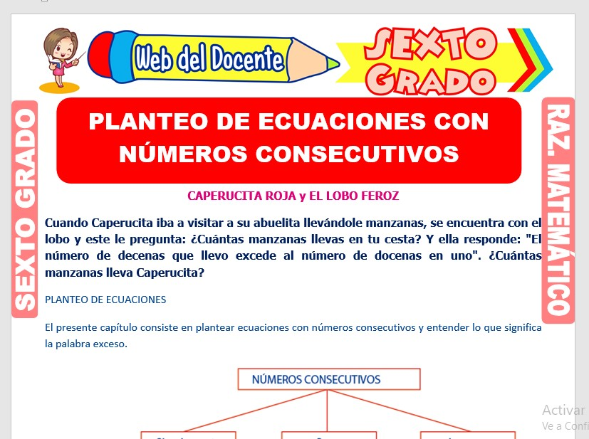 Ficha de Planteo de Ecuaciones con Números Consecutivos para Sexto Grado de Primaria