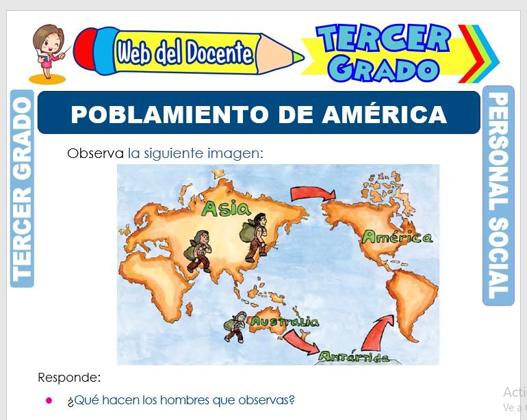Ficha de Poblamiento de América para Tercer Grado de Primaria