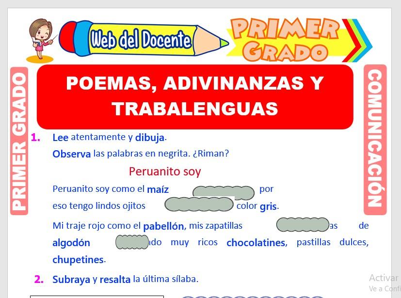 Ficha de Poemas, Adivinanzas y Trabalenguas para Primero de Primaria