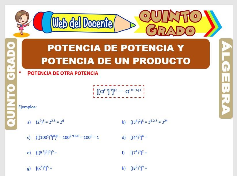 Ficha de Potencia de Potencia y Potencia de un Producto para Quinto Grado de Primaria