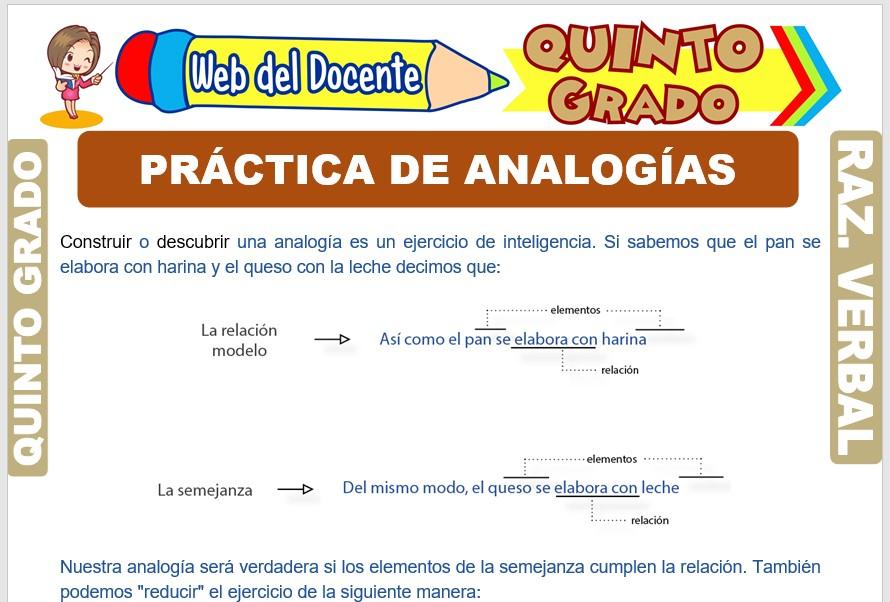 Ficha de Práctica de Analogías para Quinto Grado de Primaria