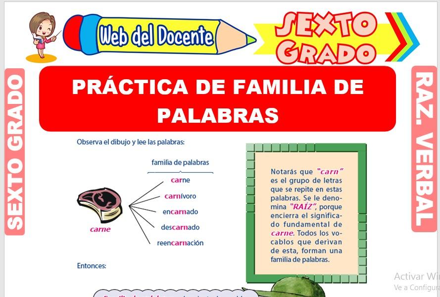 Ficha de Práctica de Familia de Palabras para Sexto Grado de Primaria
