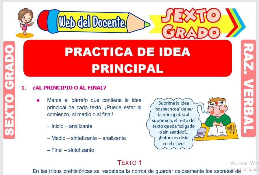 Ficha de Practica de Idea Principal para Sexto Grado de Primaria