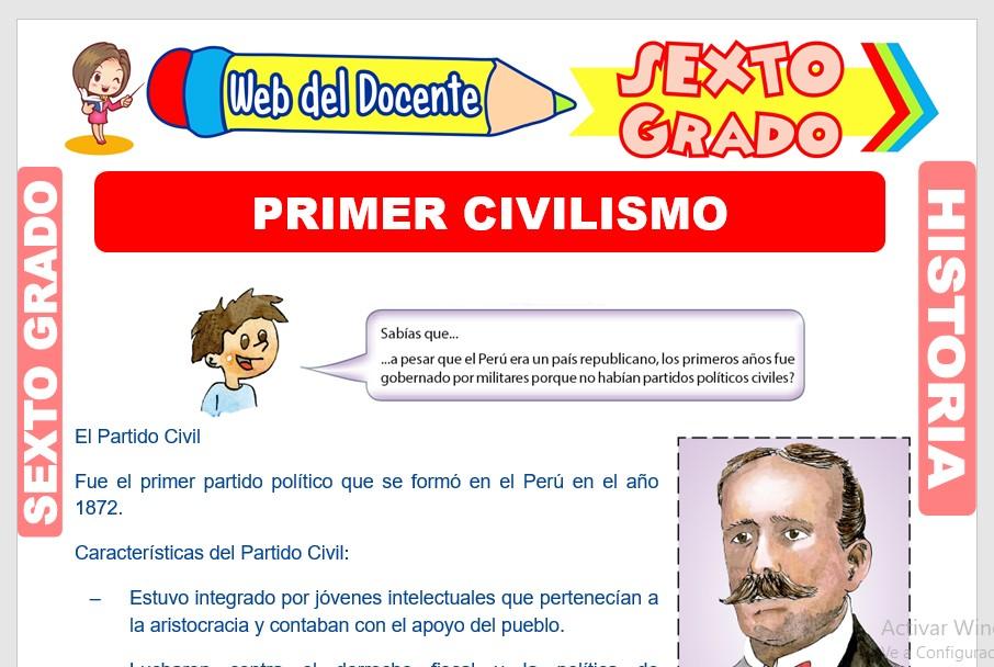 Ficha de Primer Civilismo para Sexto Grado de Primaria