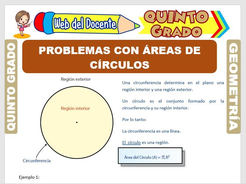 Ficha de Problemas con Áreas de Círculos para Quinto Grado de Primaria