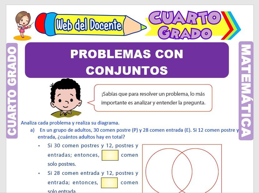Ficha de Problemas con Conjuntos para Cuarto Grado de Primaria
