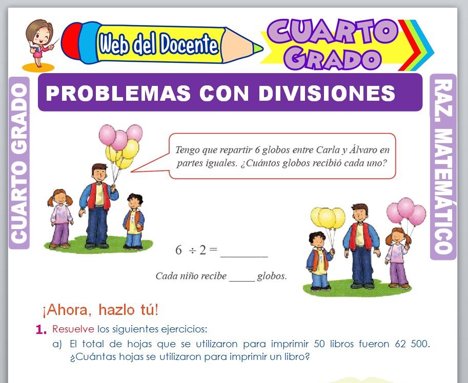 Ficha de Problemas con Divisiones para Cuarto Grado de Primaria