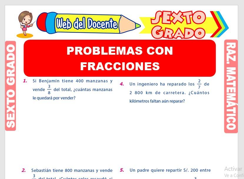Problemas Con Fracciones Para Sexto Grado De Primaria Web Del