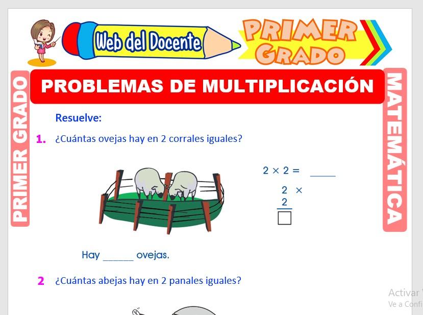 Ficha de Problemas con Multiplicación para Primer Grado de Primaria