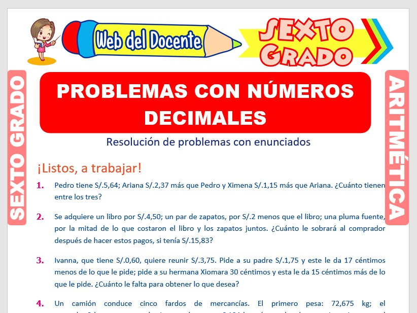 Ficha de Problemas con Números Decimales para Sexto Grado de Primaria