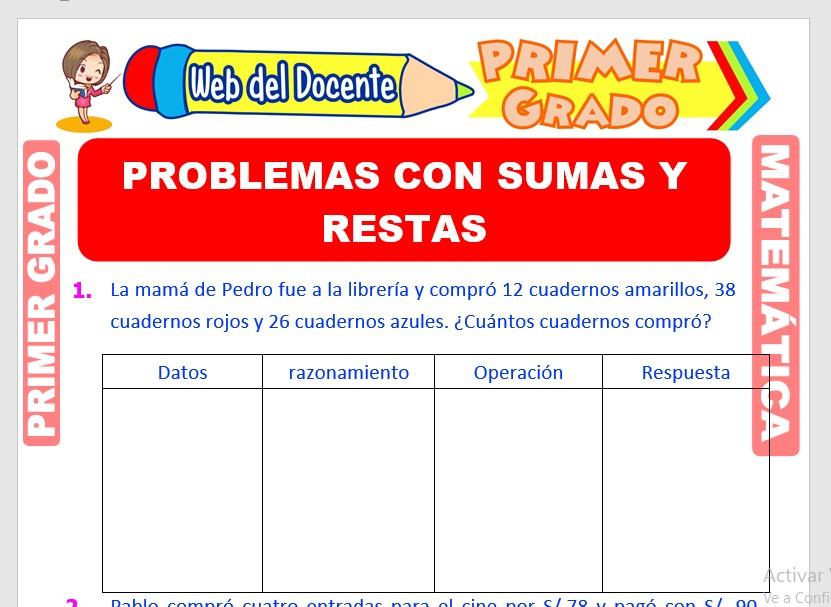 Ficha de Problemas con Sumas y Restas para Primer Grado de Primaria