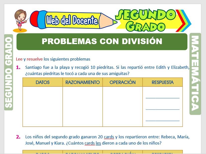 Ficha de Problemas de División para Segundo Grado de Primaria
