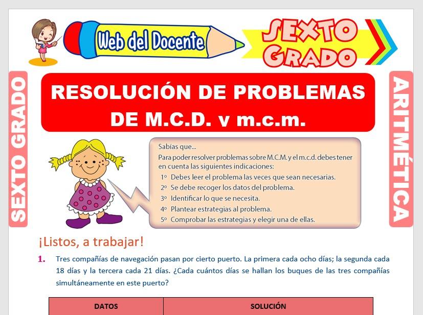 Ficha de Problemas de MCD y MCM para Sexto Grado de Primaria